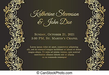 Romantic black wedding invitation with golden floral...