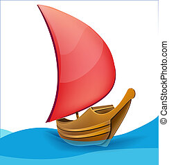 Romantic boat with red sail