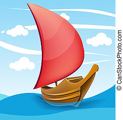 Romantic boat with red sail on a cloudy background