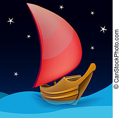 Romantic boat with red sail on a night background - Cartoon...