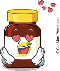 Romantic bottle vitamin c cartoon character has a falling in love eyes. Vector illustration