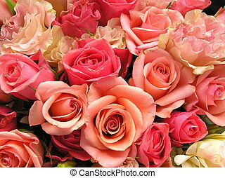 very romantic image of a bouquet with lovely roses and eustoma flowers in a veriaty of pinks!