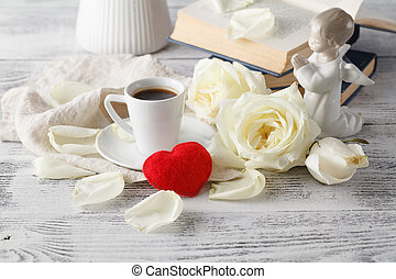Romantic breakfast coffee with white rose