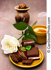 Romantic breakfast with white rose and chocolate