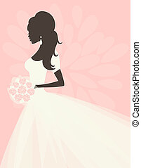 Illustration of a beautiful bride holding flowers.