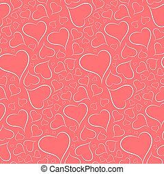Romantic bright background with a white outline heart seamless p - vector