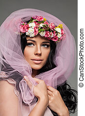 Romantic Brunette Woman with Flowers and Pink Tulle Fabric, Fashion Portrait