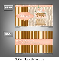 Romantic, business card - front, back - with text, cupcake, pattern