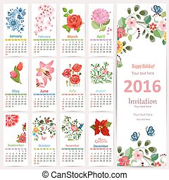 Romantic Calendar for 2016 with beautiful flowers. Cute card wit