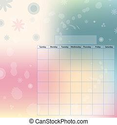 Romantic calendar template