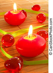 romantic candle light showing concept of love and spa