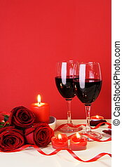 Romantic Candlelight Dinner for Two Lovers Concept Vertical