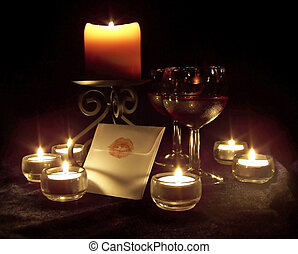 Romantic, Candlelit Scene - Romantic scene with candles,...