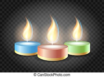 Romantic candles flame on transparent background