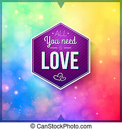 Romantic card on a soft blurry background. Vector image.