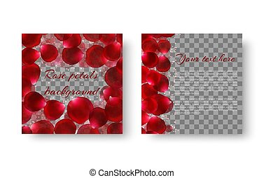 Romantic card with rose petals