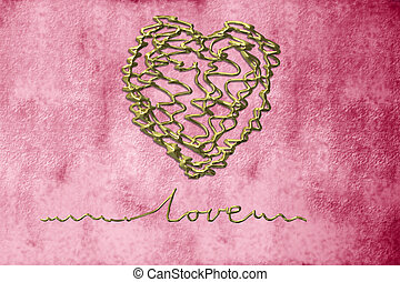 romantic cards, heart in gold thread on grunge background