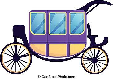 Romantic carriage icon, cartoon style