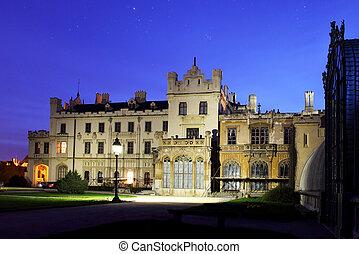 Romantic castle in Lednice - night view