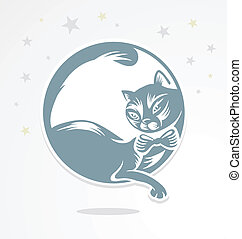 Romantic cat who sits on the moon. - Romantic cat who sits...