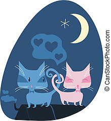 Cats couple on roof in a romantic night