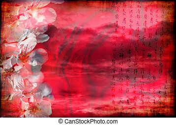 Romantic China - Romantic Chinese background with blooming...