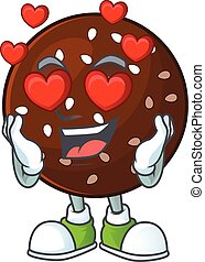 Romantic chokladboll cartoon character with a falling in love face
