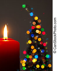 Romantic Christmas background with tree shape
