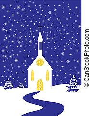Christmas church of snowy landscape - Romantic Christmas...