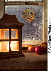 christmas decoration on a window 27