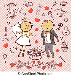 Romantic collection. Cute wedding vector set