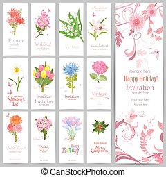 romantic collection of banners with graceful bouquets of beautif