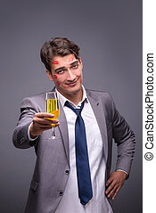 Romantic concept with man and champagne