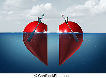 Romantic connection and relationship success as a man and a woman in the water on parts of a heart rowing towards each other as a sexual or deep emotional attraction with 3D illiustration elements.