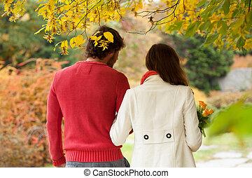 Romantic conversation in park