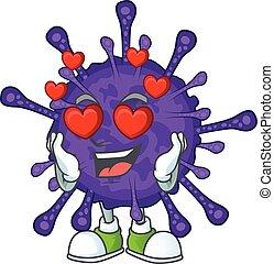 Romantic coronavirinae cartoon character with a falling in love face