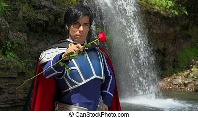 Romantic Cosplay Prince With Red Rose