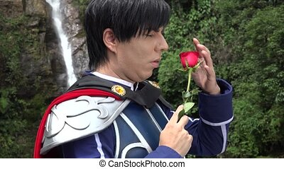Romantic Cosplay Prince With Rose
