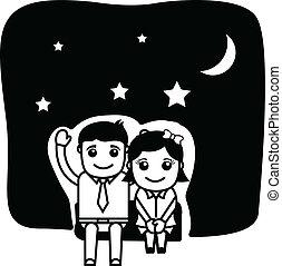 Romantic Couple at Romantic Night