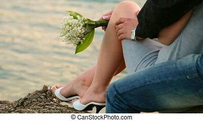 romantic couple by  lake