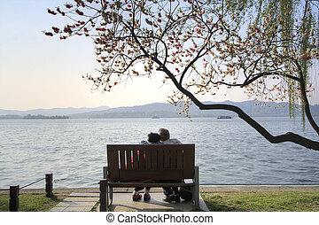 Romantic couple by the lake - Romantic couple by the famed...