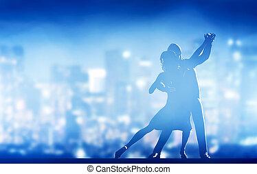 Romantic couple dance. Elegant classic pose. City nightlife...