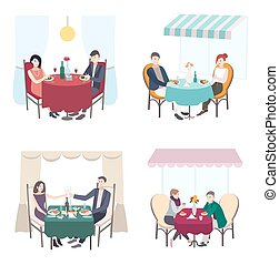Romantic couple dinner in cafe, restaurant. set of men and woman date. Collection flat illustration.