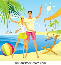 Romantic couple enjoy the vacation