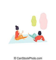 Romantic Couple Enjoying Picnic, Young Man and Woman Sitting on Plaid in Park Vector Illustration