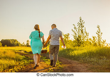 Romantic couple go and holding hands on background summer meadow