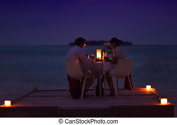 romantic couple have outdoor dinner - romantic couple in...