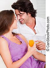 Romantic couple having drink