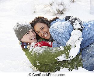 Romantic Couple Having Fun In Snow
