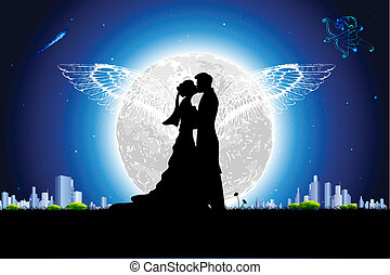 illustration of couple in romantic mood in night view with moon backdrop